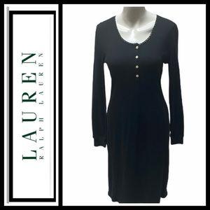Lauren Black Ribbed Sheath Dress